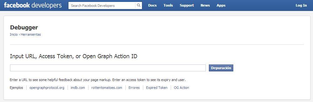 Pagina herramientas desarrollo Facebook